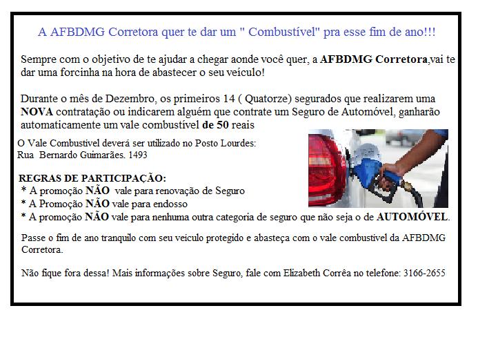 AFBDMG Corretora quer abastecer seu veiculo