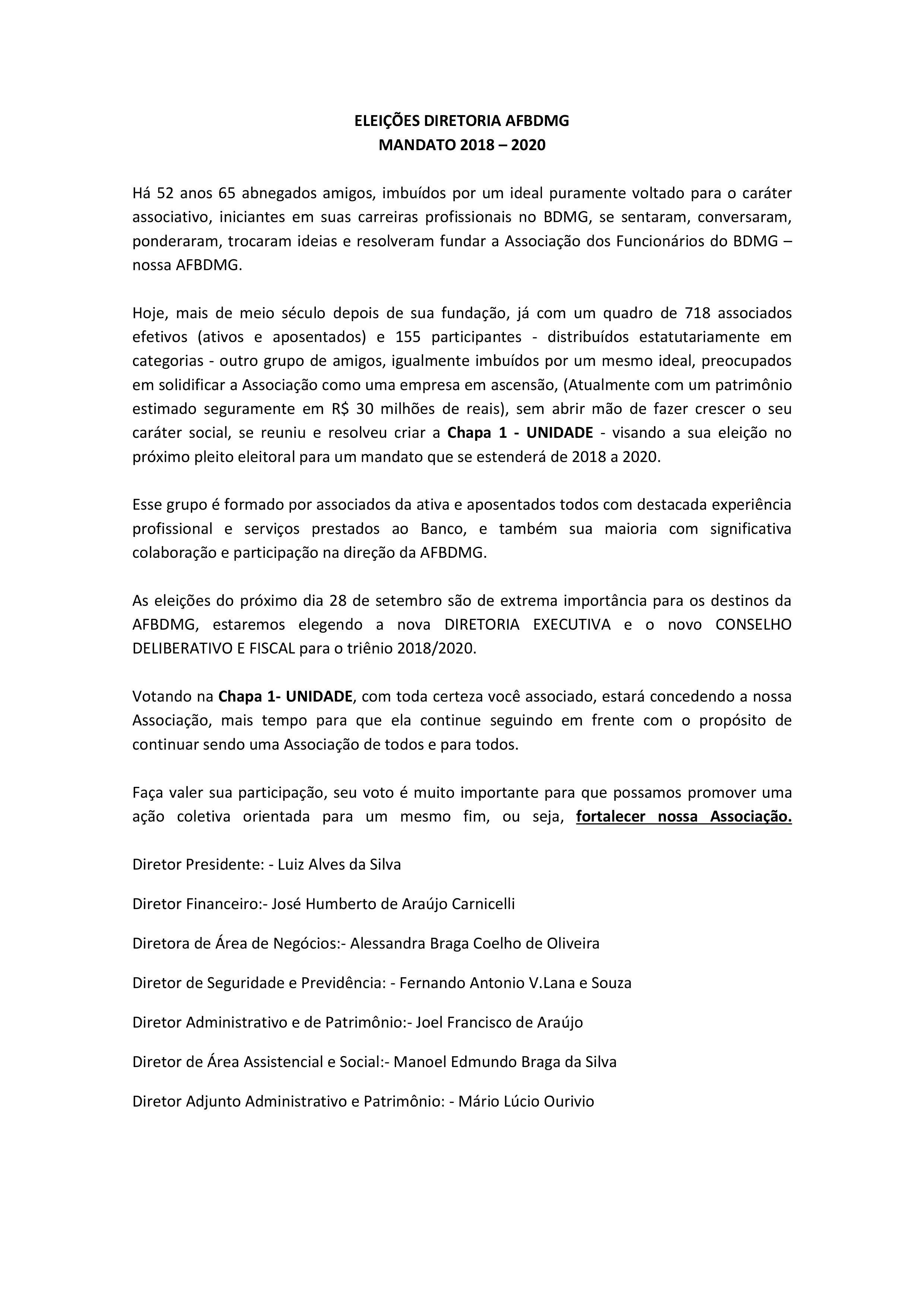 AFBDMG APRESENTA CHAPA UNIDADE PARA ELEIÇÕES 2018/2020