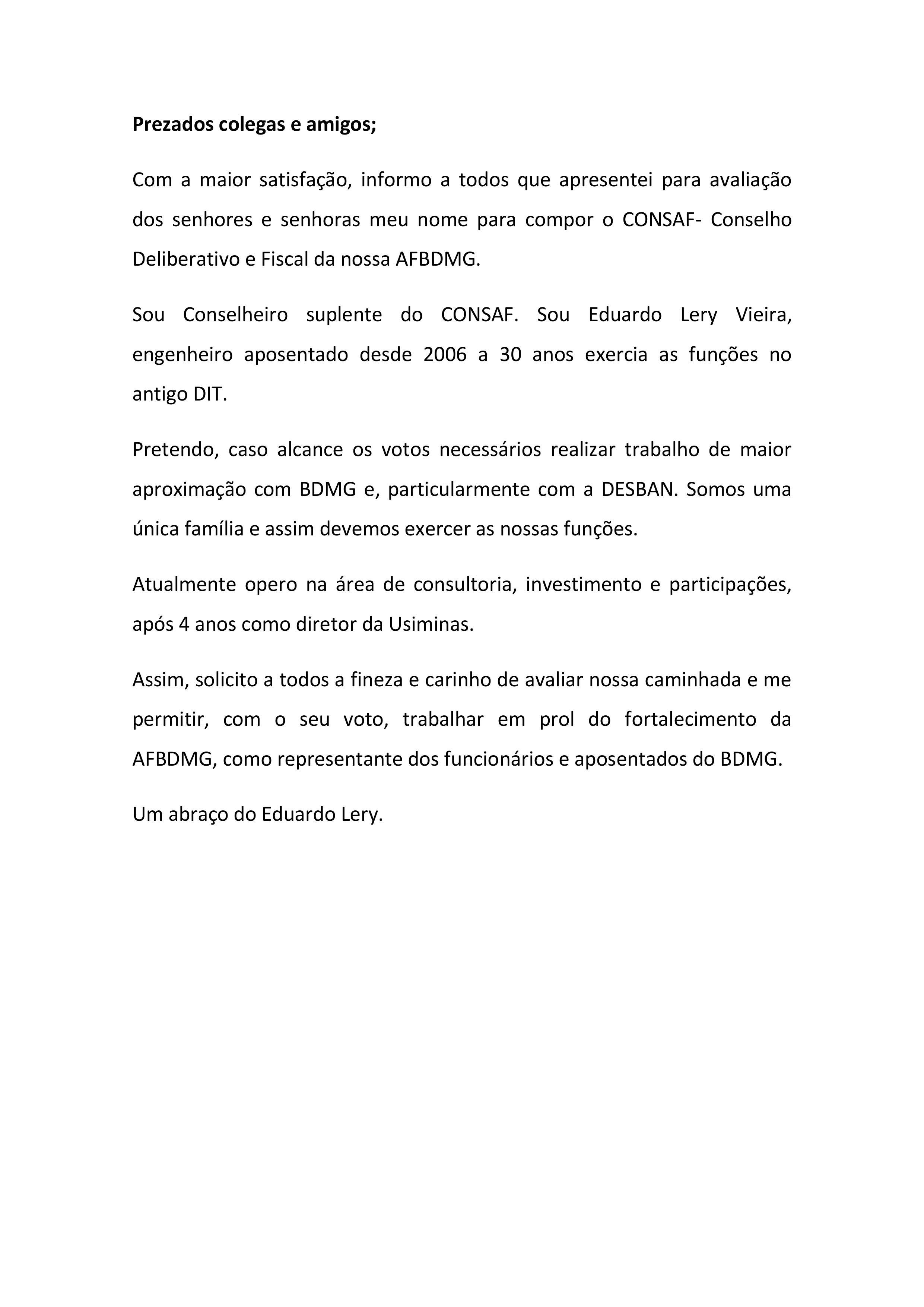 Carta Aberta Eduardo Lery Vieira candidato ao Conselho Deliberativo e Fiscal da AFBDMG