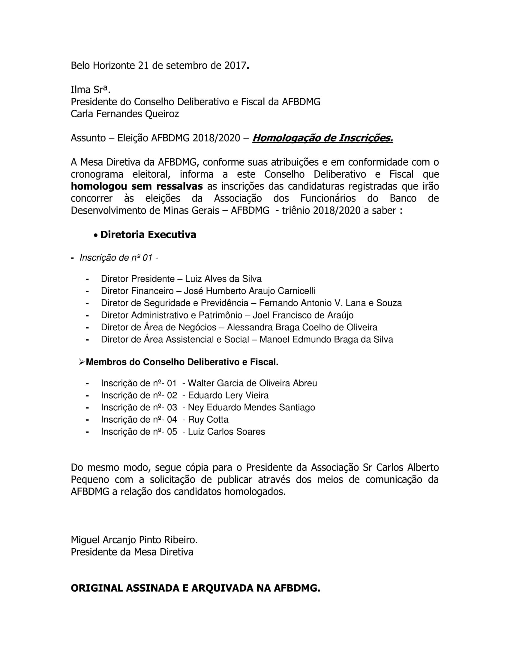 Eleição AFBDMG 2018/2020 – Homologação de Inscrições.