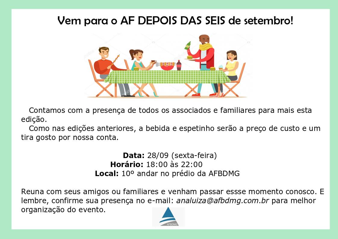 Save the date – Próximo AF DEPOIS DAS SEIS